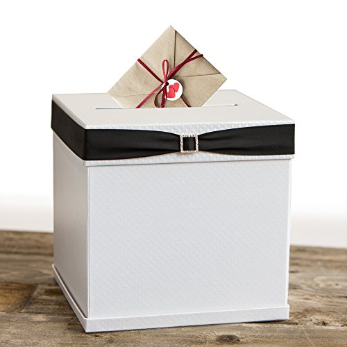 Merry Expressions – White Gift Card Box with 7 Gorgeous Ribbon Colors and Rhinestone Buckle, 10″x10″ Large, Textured Elegant Finish – for Weddings, Birthdays, Graduations, Bridal/Baby Showers & More