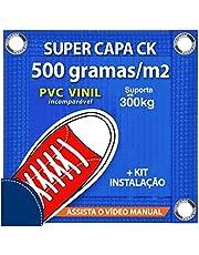 Capa de Piscina 6x3.5 M com ilhós em Latão para SEGURANÇA CK500 PVC VINIL + Pinos em Alumínio + Buchas + Corda + Válvula
