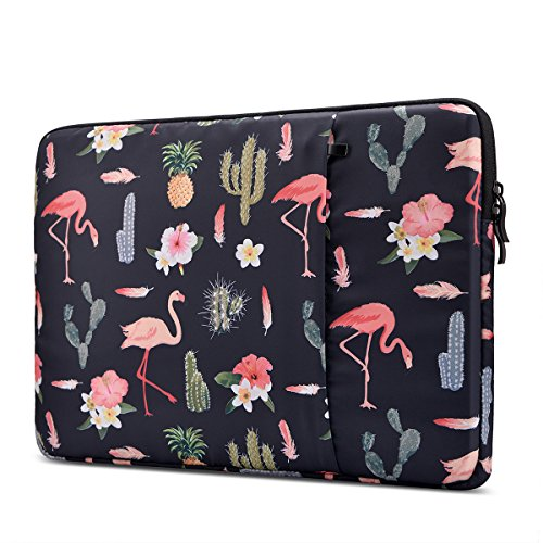 ZCDesign Shockproof 14-15.4 Inch Laptop Sleeve for 15.4 Inch MacBook Pro Retina/15 Inch New MacBook Pro with Touch Bar (A1707) Case with Accessory Pocket Water Resistant Flamingo, Black