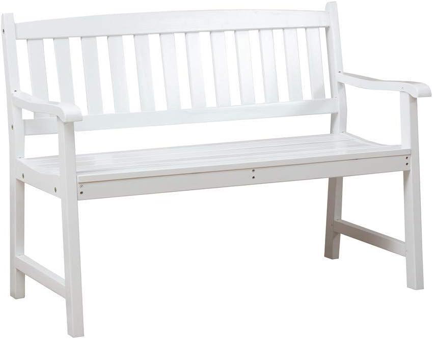 Anjor 2 Seat Outdoor Garden Bench 4 Feet Wood Patio Furniture Front Porch, White
