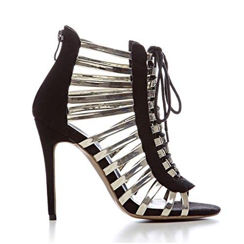 Colorblock Pesci Tacchi Dei Moda Della Delle Black Donna Sandali Ragazze Caviglia Bandage Alti Bocca 5EqxzpvE