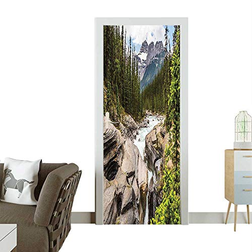 Door Sticker Wall Decals River Float in Northern Camping Rafting Woods Print Easy to Peel and StickW23 x H70 INCH (Best Melodies In Tamil)
