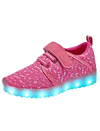 Coolloog Kids Toddler LED Light Up Shoes USB Charging Colorful Flashing Sneakers Breathable Athletic Fashion LED Shoes