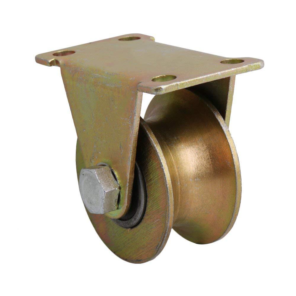 U Groove Rigid Caster 45# Steel Wheel for Industrial machines Carts Sliding gate Wheels Pulley Wheels 1.2