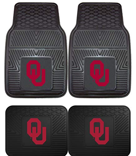 Officially Licensed NCAA Set of Universal Fit Front and Rear Rubber Automotive Floor Mats - Oklahoma Sooners ()