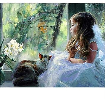 Niñas y Gatos Pintura Diy Por Números Regalo Único Moderno Imagen de Arte de la Pared Pintura de la Lona Para la Decoración Casera Enmarcado 40X50cm: ...