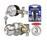 Constructor CON-CHR-COMSS Combo Chronos Keyed-Alike Entry Deadbolt Door Lock Knob Set, Stainless Steel