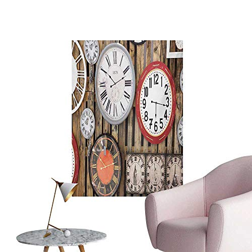 Clock Wallpaper Antique Clocks on The Wall Instruments of Time Vintage Design Pattern ArtworkBrown and Red W32 xL48 The Office Poster