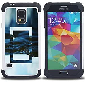 GIFT CHOICE / Defensor Cubierta de protección completa Flexible TPU Silicona + Duro PC Estuche protector Cáscara Funda Caso / Combo Case for Samsung Galaxy S5 V SM-G900 // National Mirror Geographic Frame Winter //