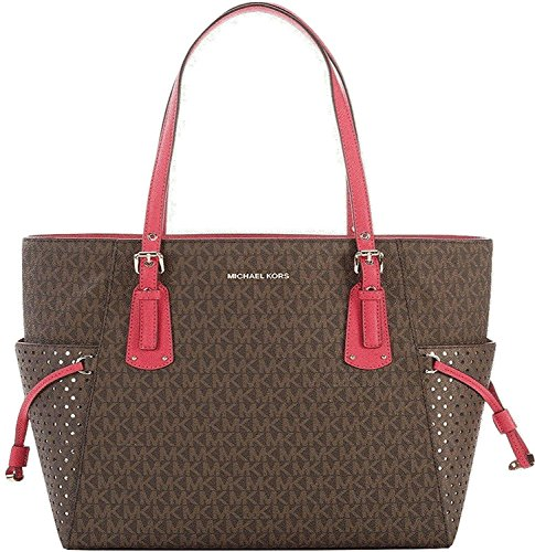 MICHAEL Michael Kors Voyager East West Signature Tote , Brown Ultra Pink by Michael Kors