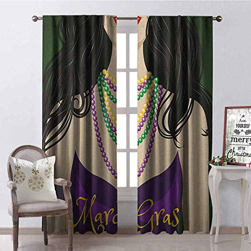 Gloria Johnson Mardi Gras Blackout Curtain Young Woman with Party Dress and Necklace with Fleur De Lis Symbol Accessories 2 Panel Sets W52 x L72 Inch Multicolor