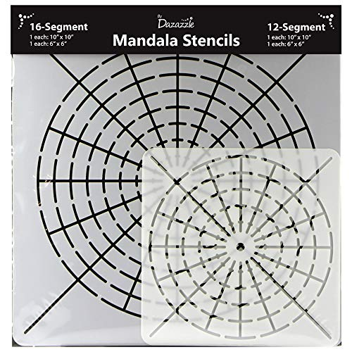 Mandala Stencils for Dot Painting - Set of 4 Stencils - 16 Segment - Small 6x6 and Large 10x10 - 12 Segment Small 6x6 and Large 10x10 (Happy Face Stencil)