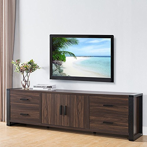 1PerfectChoice Contemporary Sleek 71″ TV Stand Entertainment Console Table Cabinet Dark Walnut