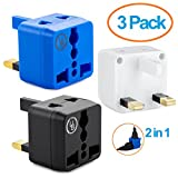 Yubi Power 2 in 1 Universal Travel Adapter with 2 Universal Outlets - Built in Surge Protector - 3 Pack - Black Blue White - Type G for United Kingdom, England, Hong Kong, Ireland, Scotland, and more