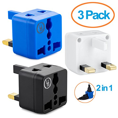 Yubi Power 2 in 1 Universal Travel Adapter with 2 Universal Outlets - 3 Pack - Black Blue White - Type G for United Kingdom, England, Hong Kong, Ireland, Scotland, and more
