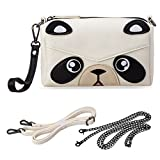 Image of BMC Faux PU Leather Small Cute Kawaii Boxy Animal Face (Black/White) Zippered Crossbody Handbag Clutch Wristlet for Kids and Adults - Panda