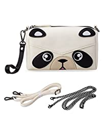 BMC Cute Animal Face Purse for Girls Teens Women - 3 Detachable Straps for Casual Crossbody Bag, Clutch Wristlet, & Evening Shoulder Handbag - PU Faux Leather - Various Dog, Cat, and Bear Designs