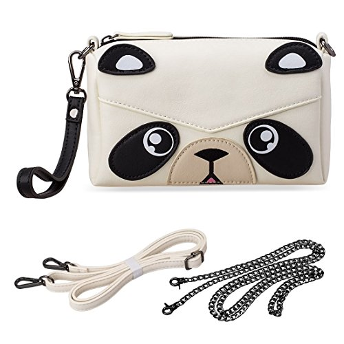 BMC Cute Animal Bear Face Purse for Girls Teens Women - 3 Detachable Straps for Casual Crossbody Bag, Clutch Wristlet, Evening Shoulder Handbag - PU Faux Leather - Black/White Panda Design