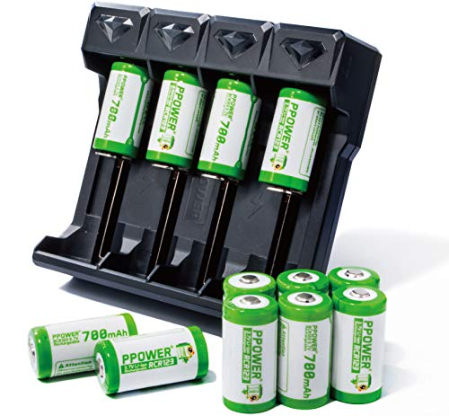 - PPOWER RCR123A Arlo Rechargeable Batteries 3.7v 700mAh Li-ion CR123A with 4 -Slot Battery Charger (Compatible with Li-Ion IMR Ni-MH Ni-Cd AAAA AAA AA Rechargeable Batteries) for Arlo HD Came (12+Z4)