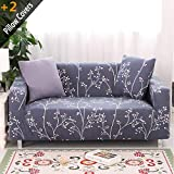 iisutas Spandex Fabric Stretch Couch Covers Loveseat Slipcover for 2 Cushion with 2 Pillow Covers 54''-70'', Snow Night