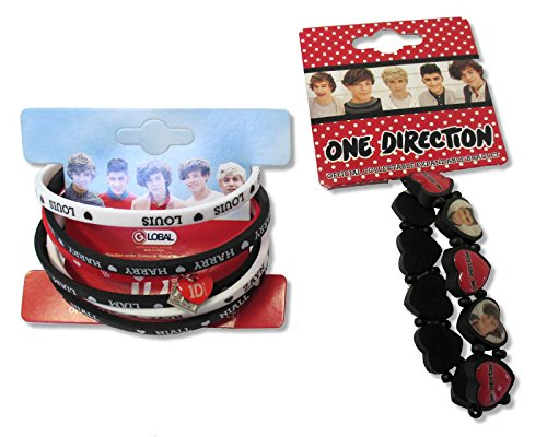 One Direction Silicone Wristbands & Expandable Heart Bracelet Set