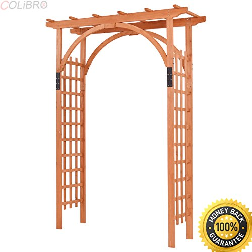 COLIBROX--Premium Outdoor Wooden Cedar Arbor Arch Pergola Trellis Wood Garden Yard Lattice. garden arch home depot. garden arbors. best wood arbor. wood trellis ceiling. home depot arbor with gate.