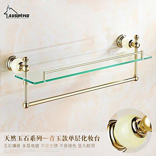 Hlluya Bathroom Accessory Set The Jade Base Style Jade Base Gold Towel Rack Racks, a Single-Storey Glass Rack