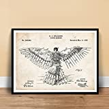 VINTAGE SPALDING FLYING MACHINE INVENTION POSTER 1889 US PATENT PRINT 18X24 GIFT PRE WRIGHT BROTHERS FLYER BIRD PLANE PILOT GIFT
