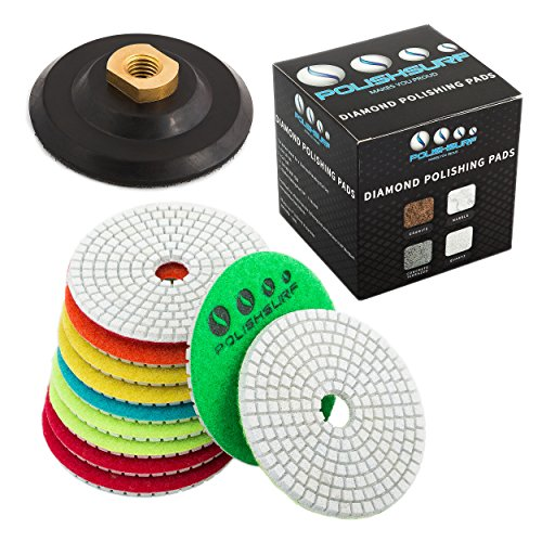 Diamond Polishing Pads 4 inch Wet/Dry Set of 11+1 Backer Pad for Granite Concrete Marble Polishing | Free eBook - Polishing Process Best Practices by POLISHSURF ()