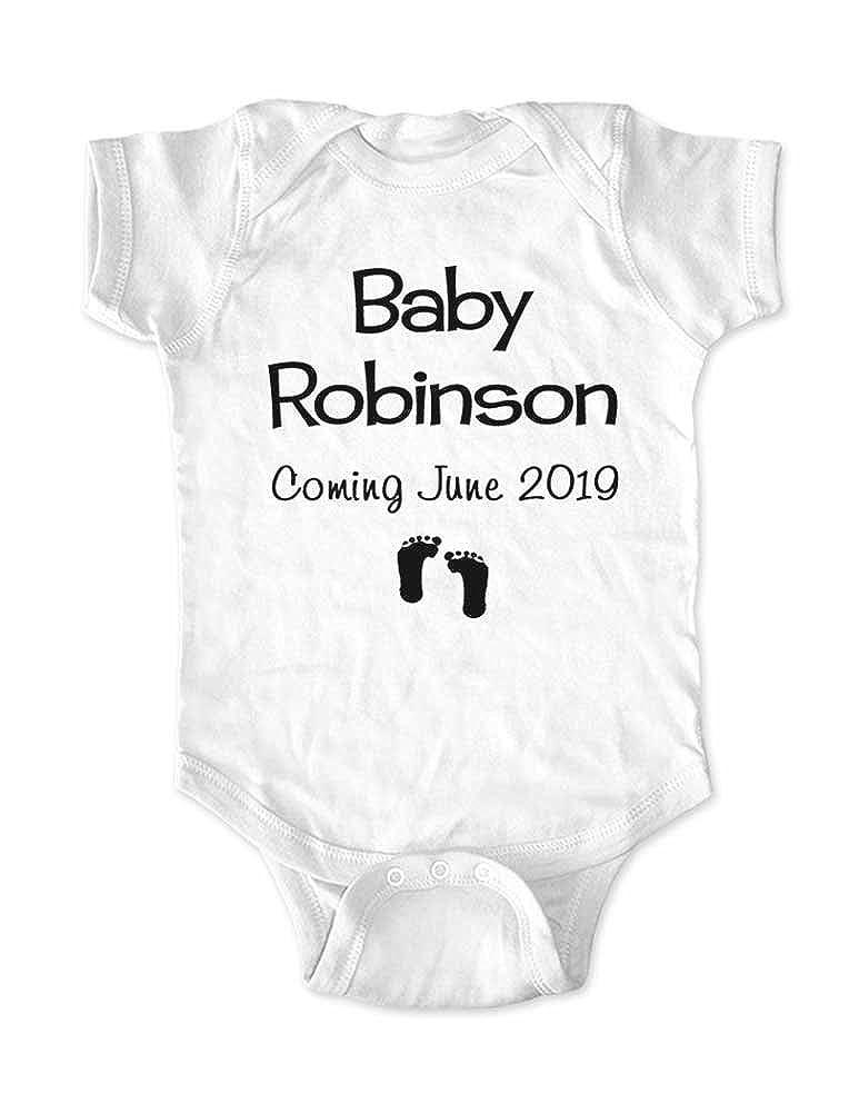 c95eba8bebbe Amazon.com  Baby (Custom Last Name) Coming (Custom Date) - Baby ...