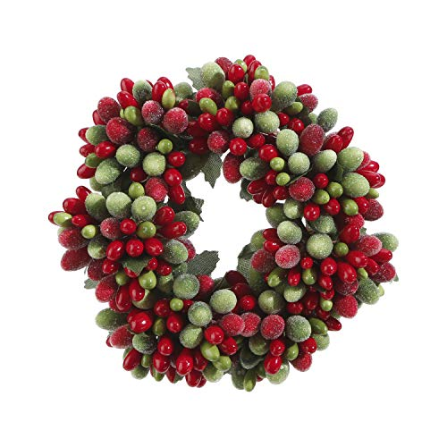 Christmas Mini Wreath - Red and Green Frosted Berry 6.5 Inch Mini Wreath Candle Ring