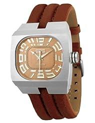 EOS New York Men's 17SBRN Blok Brown Leather Strap Watch