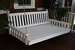 Outdoor 4' Traditional English Swing Bed - Oversized Porch Swing - PAINTED- Amish Made USA -Tropical Lime