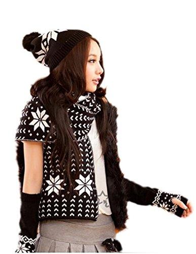 [Locry juniors Ethnic Deer Design Hat/Scarf/Glove 3 Pc Knit Set (onesize, Coffee)] (Ethnic Hats)