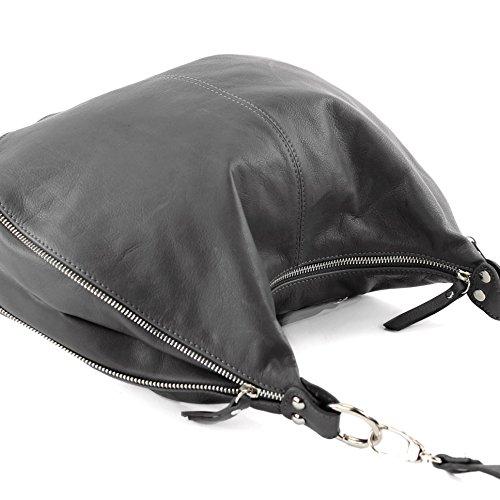 modamoda de - Made in Italy T56 - Bolso bandolera de piel napa italiana, para mujer gris oscuro