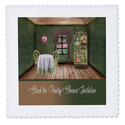 3dRose Beverly Turner Bridal Shower Design - Stock the Pantry Shower Invitation, Cozy Room - 16x16 inch quilt square (qs_308992_6) ()
