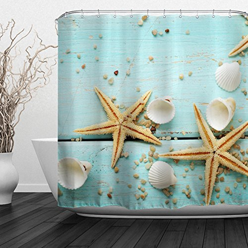ALFALFA Home Bathroom Decorative Polyester Fabric Ocean Beach Theme Shower Curtain With Hooks, Waterproof, Mildew Resistant 60