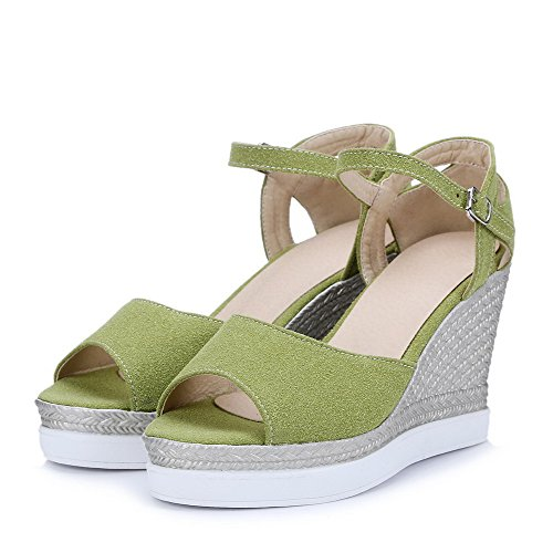 AllhqFashion Toe Heels Buckle Open Solid Green Women's Sandals Imitated Suede High 8qwxrB8
