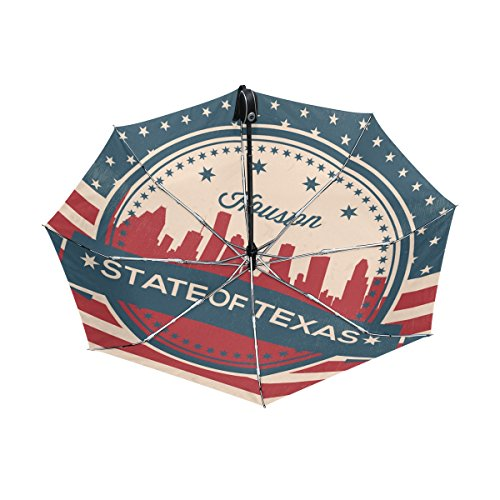 Houston Costume Jewelry (Vintage American Flag Texas State Houston Skyline UPF 50+ Anti-UV Parasol Waterproof Windproof Reverse 3 Folds Auto Open Close Lightweight Umbrella)