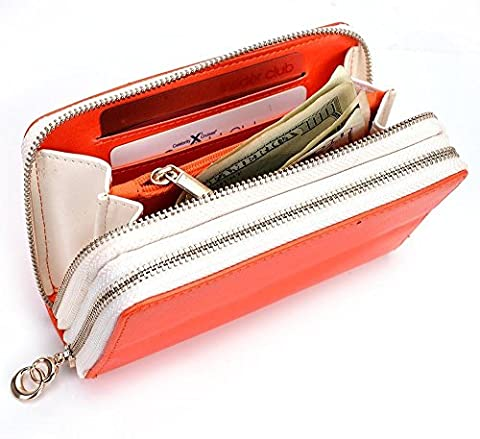 Tangerine/White MustHave Wristlet Wallet Case for Samsung Galaxy A3 (2016), J1 (2016), S6, S5 mini, S4 S4 Mini, S3 S2 (Forros Para Zte Boost Mobile)