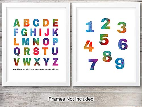 (Alphabet Numbers Art Print Set- Watercolor Wall Art Posters - Chic Modern Home Decor for Boys, Girls Room, Kids Room, Baby Room, Nursery - Great Gift for New Moms, Baby Showers - 8x10 Photo- Unframed)