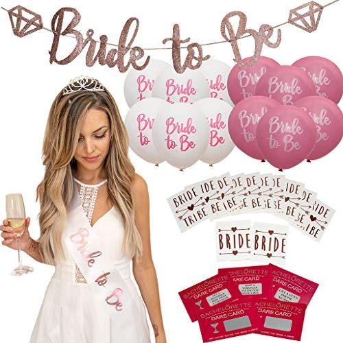 Rose Gold Bachelorette Party Decorations kit - Bridal Shower Supplies | Rhinestone Tiara, 12 Bride Tribe Flash Tattoos, Drinking Game, Bride to Be Sash, 10 Balloons, pre-Strung Banner]()