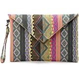 DukeTea Bohemian Oversized Clutch Purse, Large Canvas Envelope Evening Wristlet Bag Green