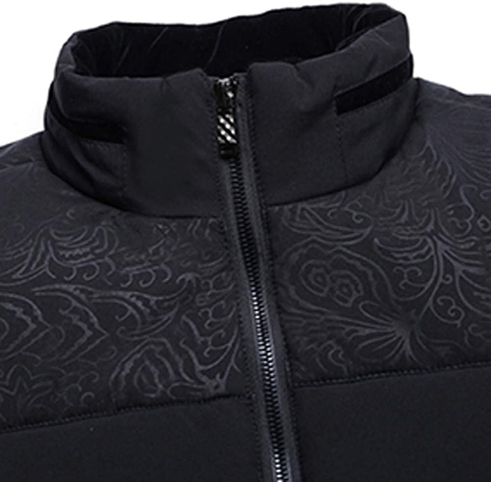 AKIMPE Mens Autumn Winter Plus Thick Warm Cotton Padded Clothes Collar Coat