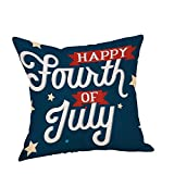 Pgojuni Vintage American Flag Linen Breathable Throw Pillow Cover Cushion Cover Square Pillow Case Cover for Sofa/Car/Bed 1pc (I)