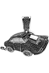 Black Plated Crystal Hip Hip Blackout Iced Micro Pave Mens Car Pendant (3 inch x 3.5 inch)