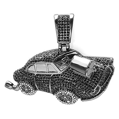 Black Plated Crystal Hip Hip Blackout Iced Micro Pave Mens Car Pendant (3 inch x 3.5 inch) Plated Crystal Pendant