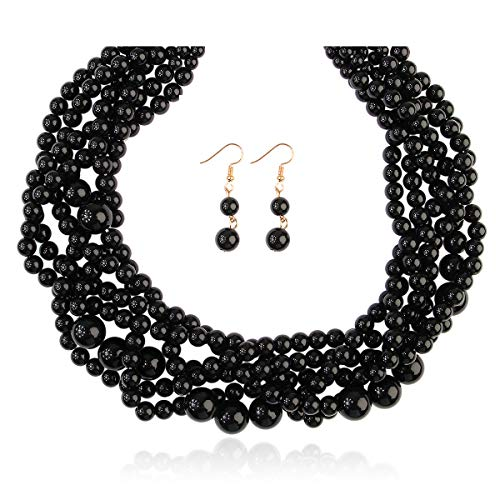 RIAH FASHION Braided Chunky Cluster Bead Bubble Statement Necklace - Multi Strand Twisted Colorful Twisted Ball Hammock Bib Collar (Twisted Bauble - Black)