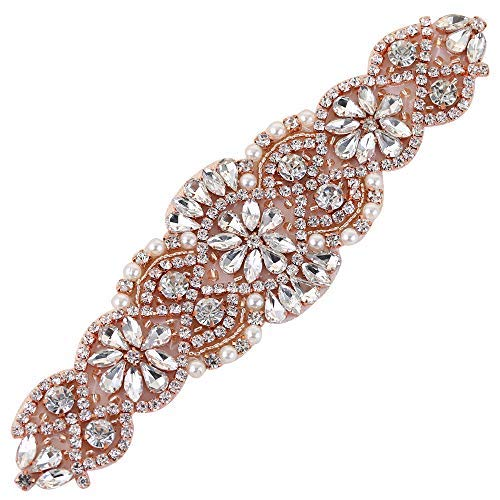 XINFANGXIU Crystal Bridal Wedding Belt Applique, Rhinestone Sash Applique Pearls Beaded Dacorations Handcrafted Sparkle Sewn or Hot Fix for Women Gown Evening Prom Clothes - Rose Gold (Belt Silk Beaded)