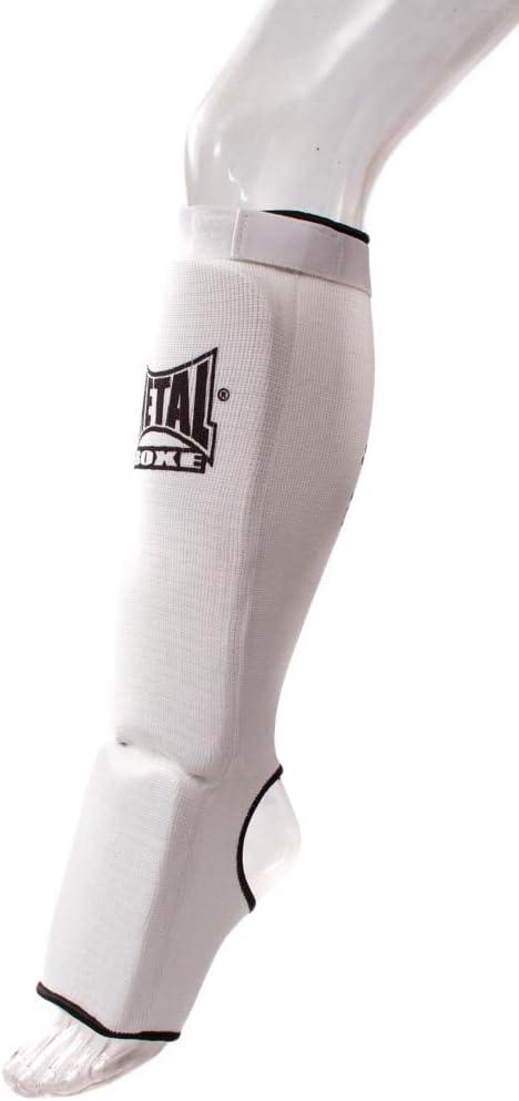 Proteges tibias avec pieds Mousse Metal boxe blanc